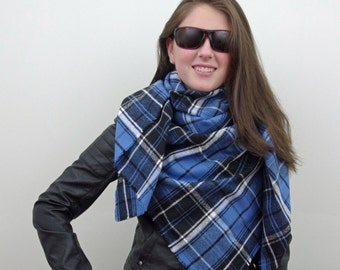 Blanket Scarf, Plaid Scarf, Cotton Oversized Scarf in Blue, Black and White, Flannel Scarf, Tartan Scarf