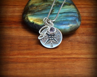 Sterling silver initial compass necklace