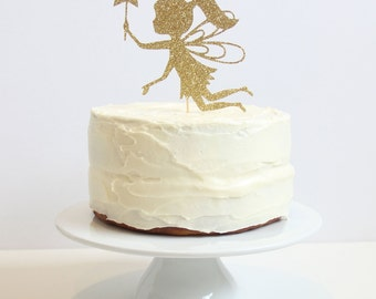 Gold Glitter Fairy Cake Topper. 5 inches. Birthday Party.
