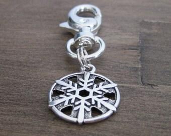 Silver Snowflake Charm - Dog Collar Charm - Bridle Charm - Winter Charm