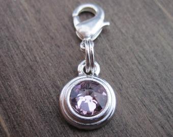 Light Amethyst Crystal Charm - Rhodium - Pet Collar Charm - Dog Cat Bridle Charm