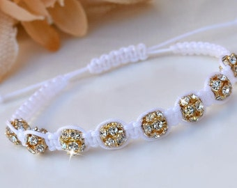 Gold and White Knotted Friendship Bracelet