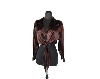 Vintage 1970s Born in America Brown Satin Tie-Waist Disco Blouse (Size Small)