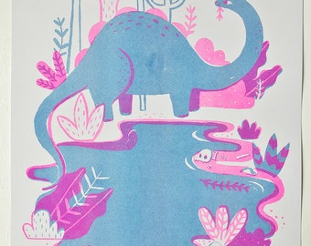 Two Colour Dinosaur Risograph Print