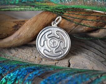 Hekate's Wheel ~ Sterling Silver Pendant ~ Hellenic ~ Ancient Greek Pagan Goddess of Magic Crossroads Mystery & Necromancy