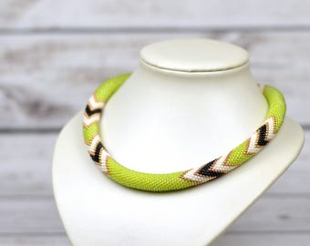 beaded necklace lime green necklace daughter gift-for-her birthday gift-for-wife gift boho necklace statement jewelry for women gift ideas