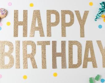 Happy Birthday Glitter Banner, Birthday Party Decor, Happy Birthday Garland