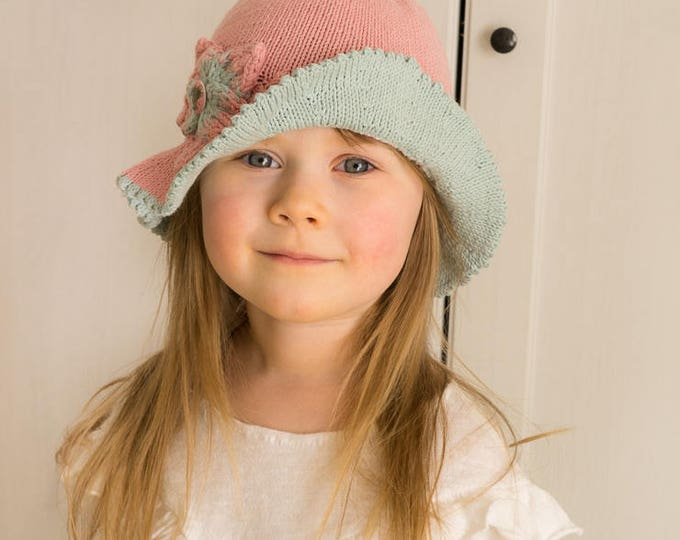 KNITTING PATTERN brim sun hat Elis with a knitted flower (baby, toddler, child, woman sizes)