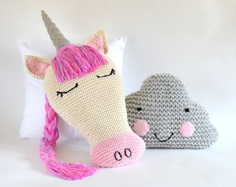 KNITTING PATTERN Unicorn Pillow Sleepy Unicorn and Cloud Pillow Knitting Pattern Easy Improving Beginner Pattern Unicorn Cushion PDF Pattern