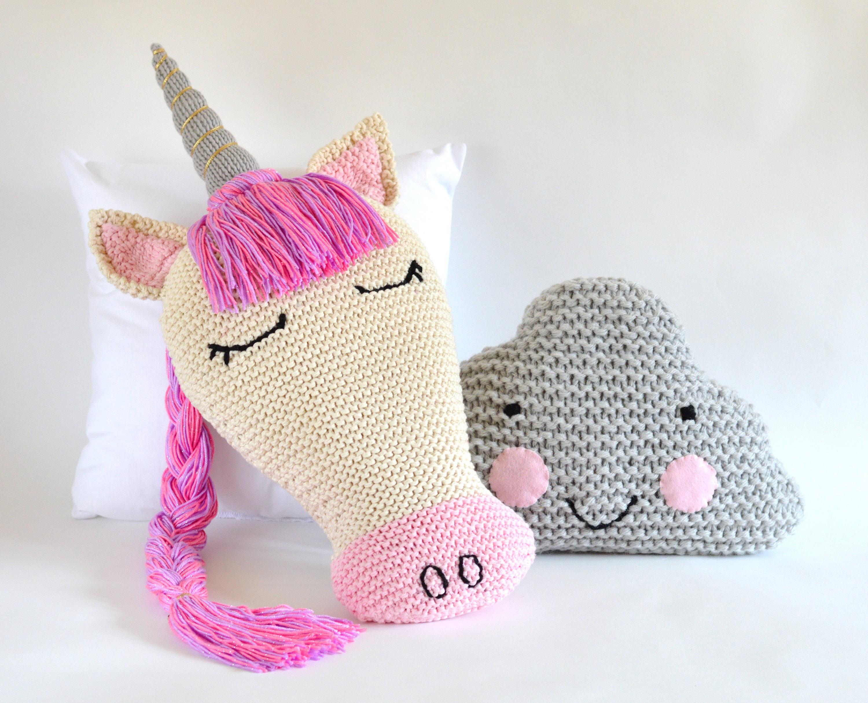 KNITTING PATTERN Unicorn Pillow Sleepy Unicorn and Cloud