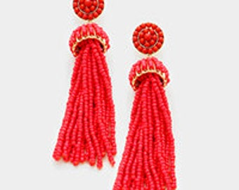 Seed Bead Beaded Tassel Earrings