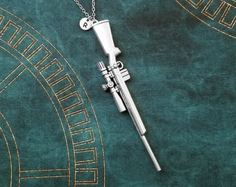 Rifle Necklace VERY LARGE Gun Necklace Sniper Rifle Jewelry Gun Charm Necklace Pendant Necklace Personalized Jewelry Initial Necklace Gift