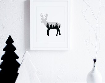 Deer Art Print, Deer Wall Decor, Grey Wall Art, Neutral Art Printable, Woodland Animal Art Print, Cabin Decor, Modern Nursery Decor