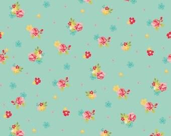 Riley Blake Hello Gorgeous C5692 Flower Toss Mint, Aqua Mint Floral Quilt Fabric, My Minds Eye, Aqua, Cotton