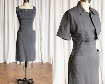 Missing You dress | gray 50s dress | grey polkadot dress set | grey 1950s dress & cropped jacket | vintage 50s cotton sleeveless dress