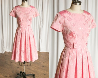 Cotton Candy dress | vintage 50s dress | vintage 1950s pink party dress | pink embroidered taffeta 50s party dress | Valentine's Day