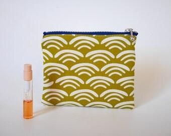 Flat pouch, zipper coin purse, coin purse, zipper pouch, change purse, asian print