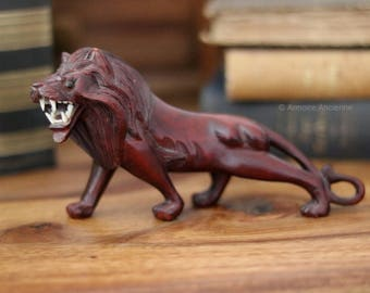 Hand Carved Wooden African Figurine, Mahogany Lion // Mid Century African Art