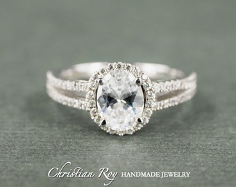 Oval Cut Diamond Simulant Engagement Ring - Sterling Silver (#CRRB0001SS)