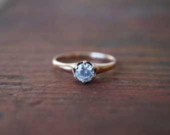 1900s Antique 10K Solitaire Diamond .45 Carat Engagement Ring in Rose Gold