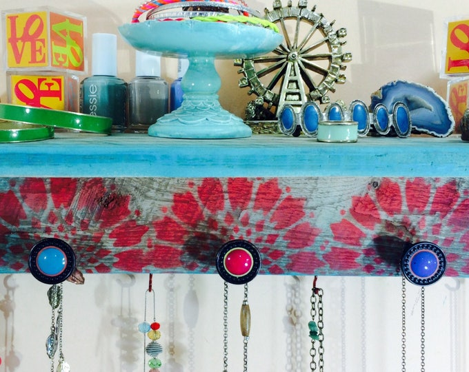 Floating shelves Recycled pallet wood wall organizer stenciled mandalas /hanging jewelry accent shelving /scarf hanger 3 knobs 4 red hooks