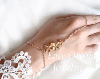 Orchid Bracelet Gold. Flower bracelet. Bridal orchid bracelet. Bridal bracelet. Bridesmaid bracelet. Bridesmaids Gift.