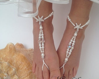 Barefoot Sandals,Starfish barefoot sandals,Flower girl barefoot sandals,Beaded Baby Barefoot Sandals,Baby Foot accessories,Photo propBaptism