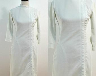 Mid Century Nurse's Uniform / 1960s Nurse's Dress / White Body Con Dress / Vintage 60s Wiggle Dress / Medium M Small S / Cosplay / Costume