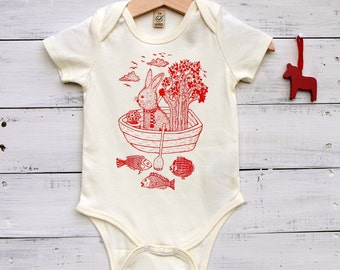 Organic Cotton Baby Bodysuit - Hand Printed Baby's Bodysuit - Rabbit in Boat - Red Print on Ecru/Natural