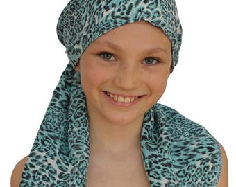 Ava Joy Children's Pre-Tied Head Scarf, Girl's Cancer Headwear, Chemo Head Cover, Alopecia Hat, Head Wrap Cancer Gift Hair Loss Blue Leopard