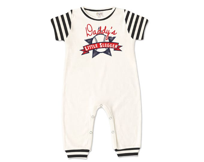 Baby Boy Romper, Newborn Boy Outfit, Short Sleeve Baseball Romper, Father's Day Outfit, Little Slugger, Gift for Baby Boy, Tesababe