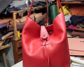 hand-sewn bucket bag