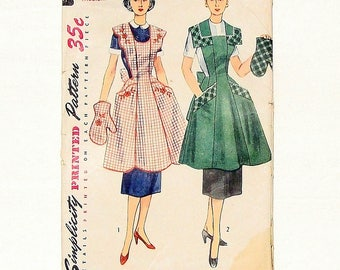 Vintage 50's Simplicity Full Apron & Mitt Sewing Pattern #4092 - Pre-Cut/FF - Size Med 36-38 - Embroidery Transfer Incl