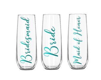 Stemless Champagne Flutes, Bridesmaid Champagne Flute, Wedding Party Toasting Flutes, Stemless Champagne Flutes