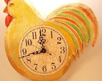 Yellow Rooster Clock