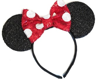 Red Polka Dot Minnie Ears - Minnie Mouse Headband - Christmas Mickey Ears - Sparkly Mickey Ears Headband -  Sparkle Mouse Ears - Sparkle Min