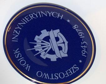 Soviet, big, dark blue & white plate, memorial decorative plate collectible Polish pottery ceramics military jubilee anniversary Polish dish