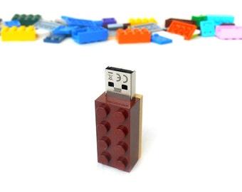 Lego usb flash drive 8GB USB - Memory Stick -  Lego® original usb Brick - Lego® 2x4 Brick - Lego® usb Brown tan - Duo Color bricks usb