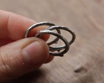 Silver Twig Rings. Sterling Silver Stacking Rings. Rustic Ring. Statement Ring. Nature Jewelry. Oxidised Rings. Stackable Rings.