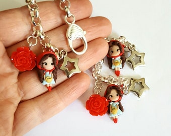 Little Red Riding Hood  bracelet inspired. Clay charm.Clay jewelry.  Doll clay.