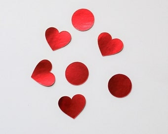 Red Foil Heart Stickers - Red Foil Round Stickers - Red Foil Envelope Stickers - Red Foil Envelope Seals - Red Heart Stickers - Red Stickers