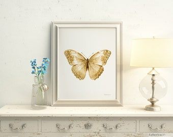 Brown Butterfly Printable Nursery wall print, Sepia art, Digital painting, Instant poster 11x14, Rustic bedroom decor, Cottage chic 8x10 art