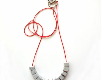 Gray and red Beaded strand necklace for women, Concrete necklace, Geometric jewelry, Urban, Womens gift, Minimalist necklace