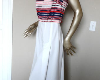Vintage 1960's-1970's Red White & Blue Dress and Jacket Set* Size 14 . STONER SQUARE Nelly Don . Sleeveless Dress. Spring.Summer.