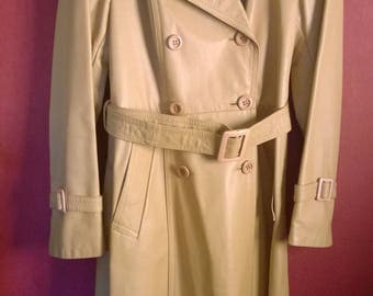 Vintage 70s mac Leather Cream VINTAGE 1970s COAT Womens Leather Long coat Cream 38-40 Trench Coat Leather genuine Belted coat  RARE