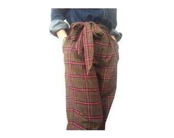 1980s Vintage Red Brown  Tartan Plaid bowed high waist  Pants // size : eu 36-uk8-us6 //1980's High Waisted Trousers Size 6