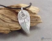 Fine silver leaf pendant with spiral bail hand sculpted in eco-friendly reclaimed silver. Pure silver leaf necklace . Solid silver leaf