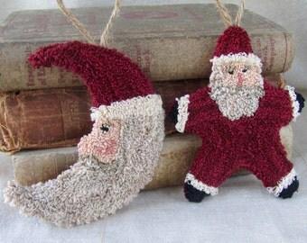 Punch Needle Pattern ~ Santa Ornaments ~ Star Santa ~ Moon Santa ~ punchneedle pdf pattern ~ needle punch epattern ~ Christmas Punch Needle