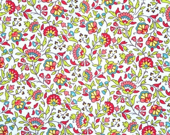 Destash Stonehill Red Floral Fabric, 2 pieces, 3 1/2 yards total, Stonehill Fields of Glory Floral Cotton Fabric, Red & White Cotton Floral