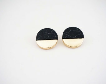 Black Marble and Gold Post Stud Earrings